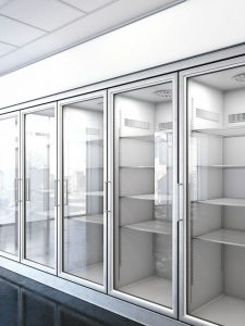 picture of store freezer with shelves